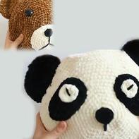 熊猫小熊抱枕(3-1)雪尼尔粗线钩针编织趣味卡通抱枕视频教程