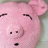 小猪抱枕(3-3)雪尼尔粗线钩针编织趣味卡通抱枕视频教程