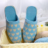 心心相印拖鞋钩法(9-4)与爱有关的系列毛线鞋编织视频