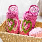 心相连拖鞋钩法(9-5)与爱有关的系列毛线鞋编织视频