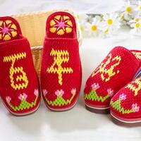百年好合婚嫁主题拖鞋(9-9)与爱有关的系列毛线鞋编织视频