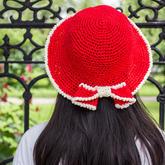 丝带线编织优雅蝴蝶结女士钩针太阳帽视频教程