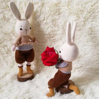 情侣兔 娃娃家2.0钩针兔子玩偶编织图解教程