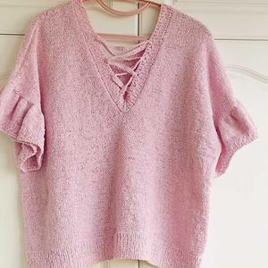 织女夏天心头好 粉紫色交叉T女士棒针V领短袖上衣