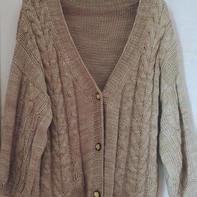 麦香 喵夫人大雪女士棒针灯笼袖慵懒风开衫外套