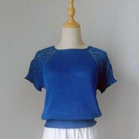 蓝莲花短袖版本 从领口向下织女士棒针插肩短袖衫