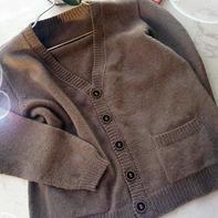 基础款男式开衫 男士棒针口袋V领羊绒开衫