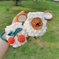 樱桃绵羊(3-1)创意手工DIY钩针卡通耳机包编织视频教程