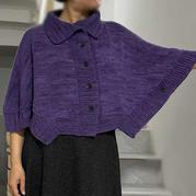 紫烟 喵夫人大雪女士棒针开衫式披肩