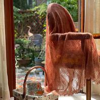 云雀 云羽真丝女士棒针马海毛大方巾