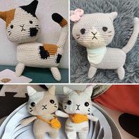 娃娃家2.0钩针花色猫猫玩偶图解教程