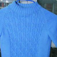 蓝云 云棉编织的棒针插肩儿童毛衣