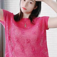 蔷薇 简单大气云清女士棒针镂空短袖套衫