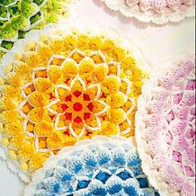 生命之花曼陀罗坐垫(3-2)创意毛线编织钩针坐垫编织视频教程