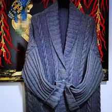青领领麻花大衣 女士棒针中长款开衫毛衣(附青果领编织方法)