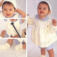 手工编织可爱宝宝棒针四件套编织图解(开衫、马甲、帽子与袜子)