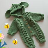 萌萌兔(2-1)婴幼儿棒针秋冬连体衣爬服编织视频教程