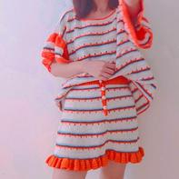 橙色套装 时尚荷边叶女士钩针套裙