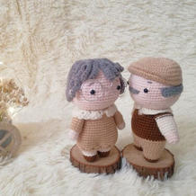 娃娃线2.0白头偕老爷爷奶奶钩针人偶娃娃编织图解