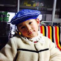 海军 多色编织儿童钩针贝雷帽