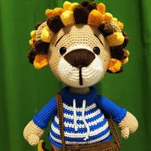 一只摄影狮的诞生 钩针玩偶狮子编织图解