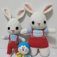 快乐的小兔 趣编织四股棉可爱钩针兔子玩偶一对