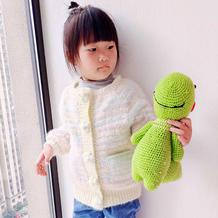 从领口向下编织儿童钩针冰淇淋色系萌萌外套开衫
