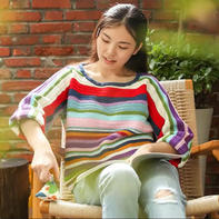 钩针多彩致简外套(2-2)彩色条纹女士钩衣编织视频教程