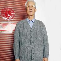 重阳节礼物 送父亲的男士棒针V领开衫毛衣